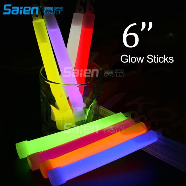 6 pulgadas grado industrial Glow Sticks Party Glowstick química fluorescente de Halloween colgando Decoraction luces de emergencia que acampan