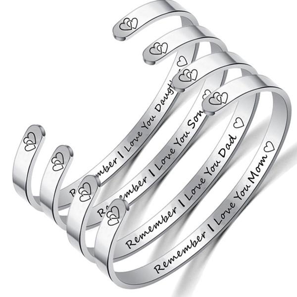 Titanium Steel Bracelet C Shaped Family Bangle REMEMBER LOVE YOU Letter Circlet Silver 6CM Inspirational Open Bracelets UNISEX