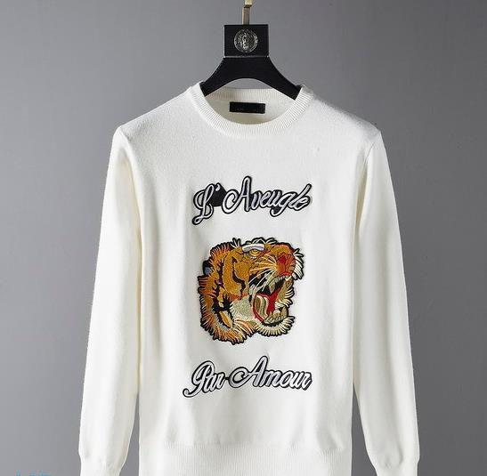 Maglia di alta qualità cachemire girocollo testa della tigre ricamo di lusso del progettista Jumper Mens pullover Designer Maglione Asiatica Misura M-3XL