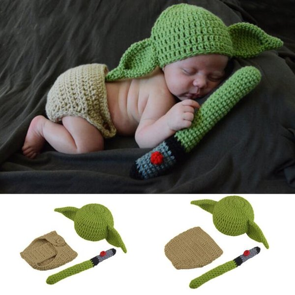 Newborn Photography Suit Knitted Newborn Boy Girl Cartoon Costume Hat Short knitted Stick 3pieces Children Clothing Set WY209