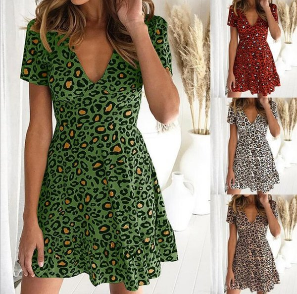 New summer dress Sexy open-back leopard print a-line dress Hot style is the latest in fashion