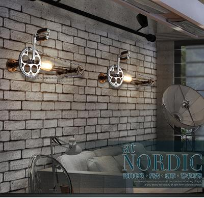 Creative Industry balcony wall light retro American restaurant bar decorative wrought iron pipe bicycle wall lamp