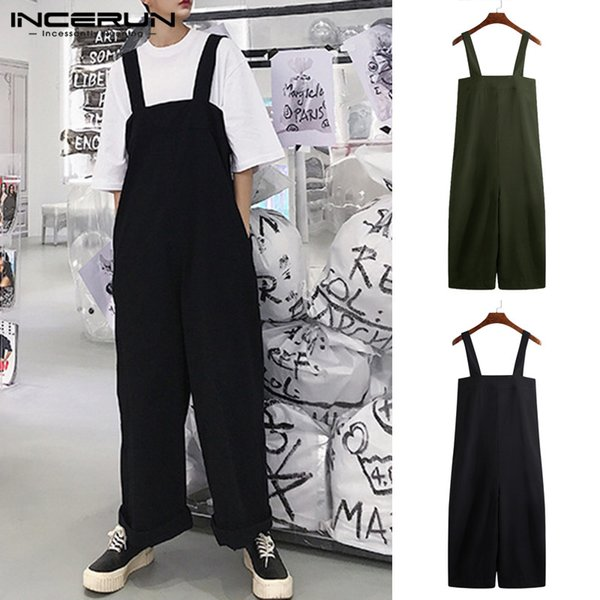 Streetwear 2019 Jumpsuits Male Bottom Baggy Jumpsuits Men Wide Legs Pants Loose Fit Overall Coveralls Playsuits 5XL Trousers
