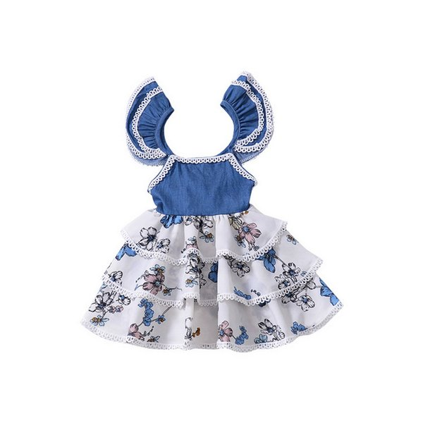 Fashion Cotton Girls Dresses Flare Sleeve And Plaid Skirt With Floral Print Design Kid Designer Clothes Girls