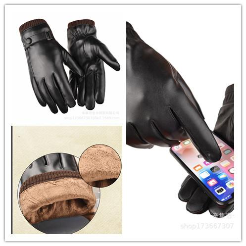 top popular Tactical waterproof touch screen leather gloves Men's autumn and winter plus velvet thick windproof riding driving outdoor warm gloves 2021