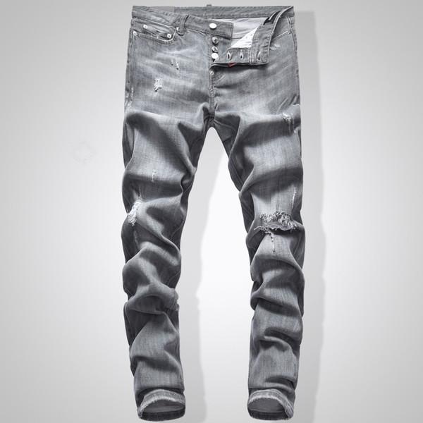 Vaqueros grises Hombres Slim Fit Denim Color sólido Hip Hop Streetwear Biker Jeans 744 #