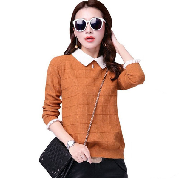 Autumn Winter Women Sweater New Doll Collar Long-sleeved Knitwear Pullover Sweater Large Size Short Knit Jumper Female Tops Y63