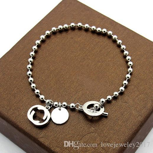 Stainless Steel Silver beads chain Bracelet with letter G design Rose Gold OT buckle bracelets for women and men fine jewwelry luxury brand