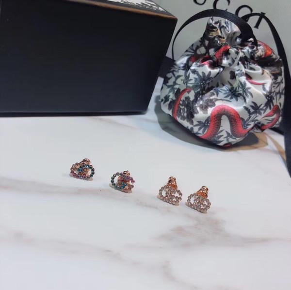 S925 Silver punk palabras huecas con aretes de diamante colorido y blanco para las mujeres y la novia regalo de la joyería PS7431