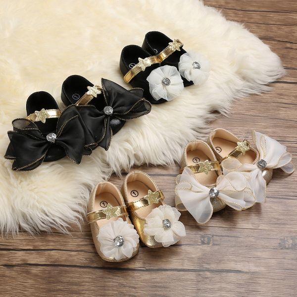 Bébé nouvelle mode paillettes étoiles chaussures nouveau-nés filles de princesse premiers marcheurs chaussures de toile arc doux