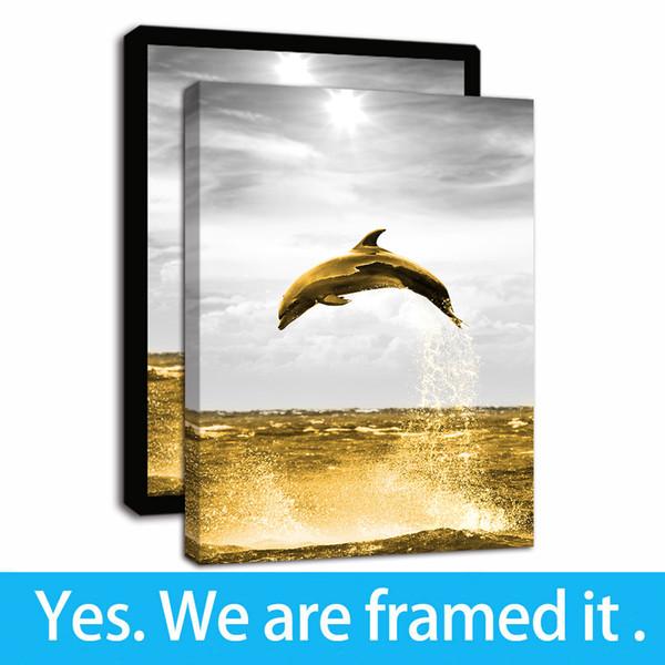 Animali Tela Pittura Stampa - Ocean delfini saltare fuori il mare all'alba Canvas Prints arte della parete per Soggiorno Camera da letto