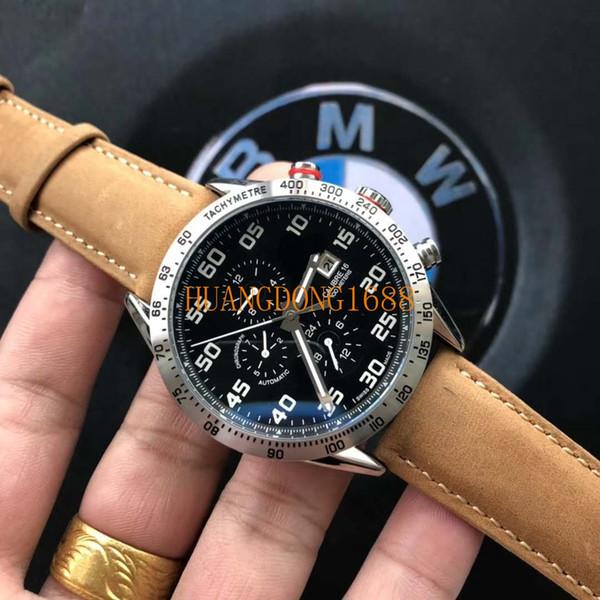 Luxury mechanical automatic movement through the bottom waterproof leisure diving steel belt black surface men's watch