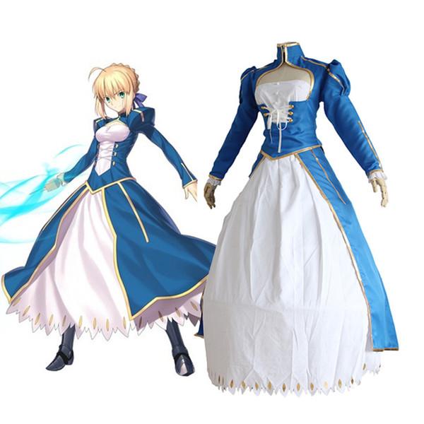 Destin / Séjour Nuit Anime Destin Zéro Sabre Cosplay Arturia Pendragon Bleu Blanc Combat Costume Robe Costume