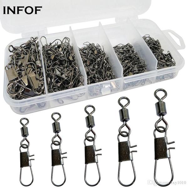 INFOF marca 240pcs / box 10boxes girevoli Snap kit di pesca 2 # / 4 # / 6 # / 8 # / 10 # rotolamento girevole con bloccaggio a scatto Carp Hook Fishing link Connettore
