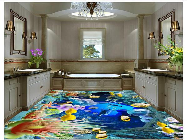 customized 3D self-adhesive floor painting wall paper 3D underwater world waterproof floor background mural stickers