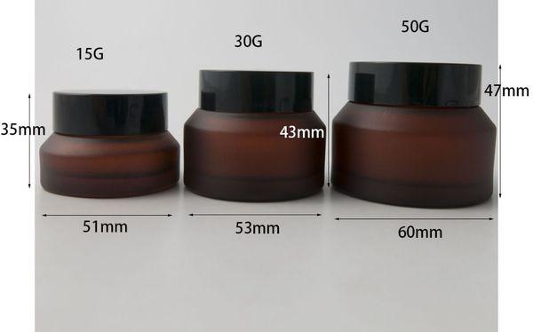 200x15G 30G Siyah Kapaklı 50G Frost Gül Kırmızı Cam Krem Kavanoz beyaz Mühür Konteyner Kozmetik Ambalaj, ve 15G Cam Krem Pot