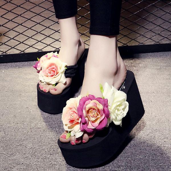 Perimedes flower super platform high heel Women slippers Fashion Summer Wedges Bohemian Flower Sandals Slippers Beach Shoes