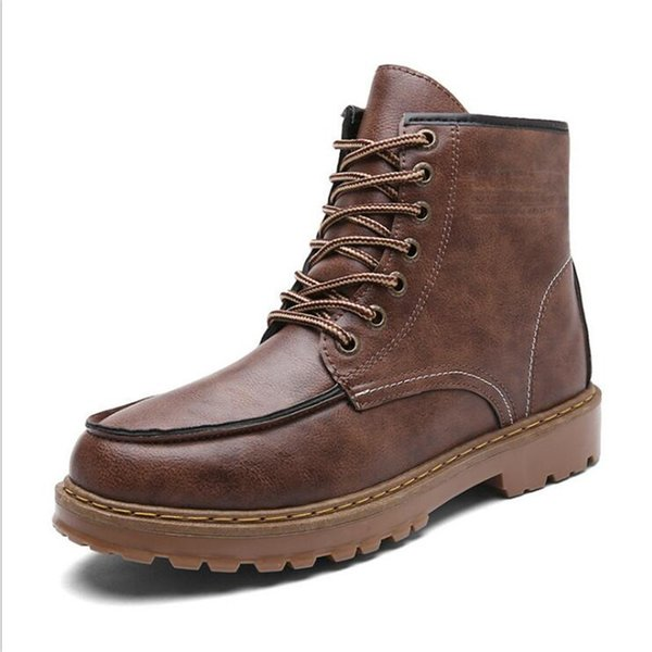 2e4d873af2 VIXLEO 2019 High Quality Split Leather Men Boots Dr Martin Boots Shoes High  Top Motorcycle Autumn Winter Shoes Man Snow Boots Boots Uk Winter Boots ...