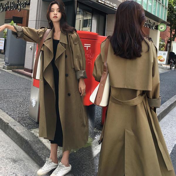 Rompevientos mujer medio y largo versión coreana 2019 otoño nueva cintura flaca niña Ejército verde rodilla abrigo mujer abrigo