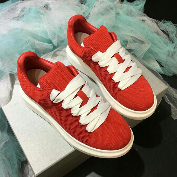 Zapatos de tenis de lujo racer malla roja Balck cuero Kanye West racer hombres caminando zapatos casuales vestido de fiesta gs18102307