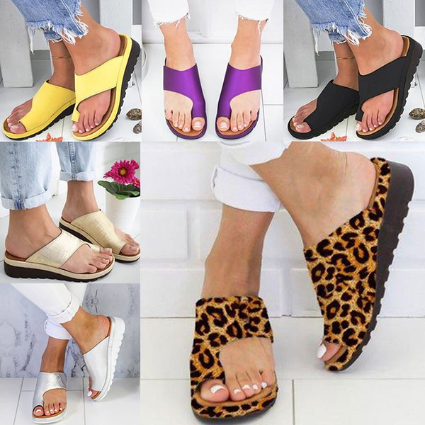 top popular Women Slippers Flip Flops Platform Ladies Soft Thong Sandals Big Toe Foot Correction Orthopedic Bunion Corrector Home Shoes 7 color WX9-1363 2020
