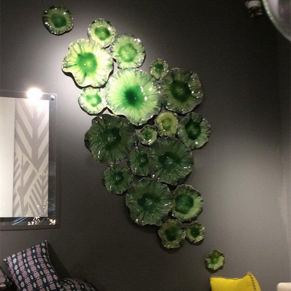 Avrupa Tipi Yeşil Renk Ev Dekorasyon Dale Chihuly Stil El Üflemeli Murano Çiçek Cam Duvar Tabağı