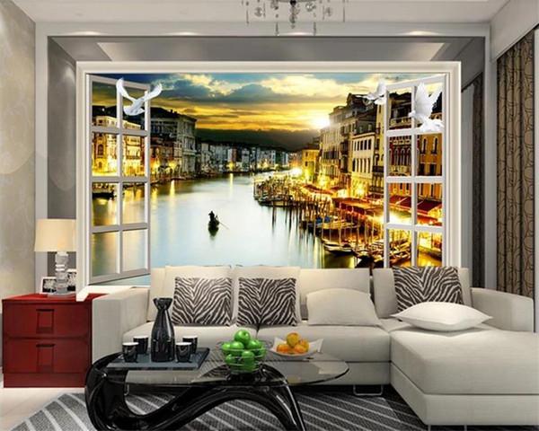 Großhandel Benutzerdefinierte Größe 3D Fototapete Wohnzimmer Wandbild  Fenster Traum Wasser Stadt 3d Bild Wandbild Wohnkultur Kreative Hotel  Studie ...
