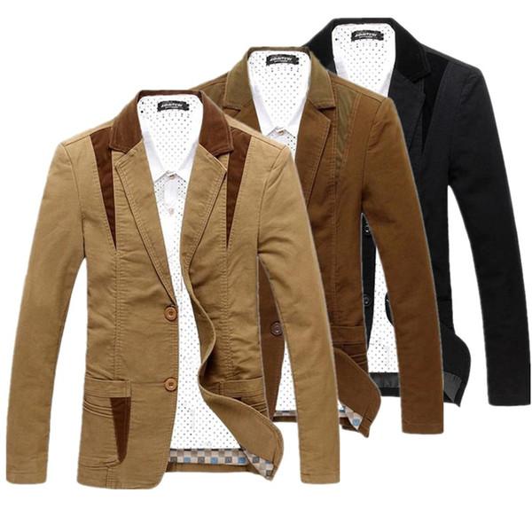2019 neue Luxus Männer Baumwolle Anzüge Kleid Blazer Slim Fit Männlichen Blaser Masculino Jacke Hochzeit Blazer für Männer Regelmäßige Plus Größe