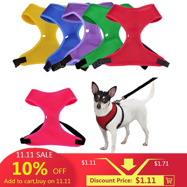 1PC Adjustable Pet Puppy Nylon Mesh Vest Dog Harness Collar Chest Strap Leash Harnesses For Dogs Cats 6 Colors XS~XL Available
