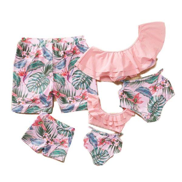 2020 Anne Kızı eşleştirme Çift Mayo Aile Mayo Anne Bikini Elbise Fırfır Baba Oğul Anne Kızı Mayo