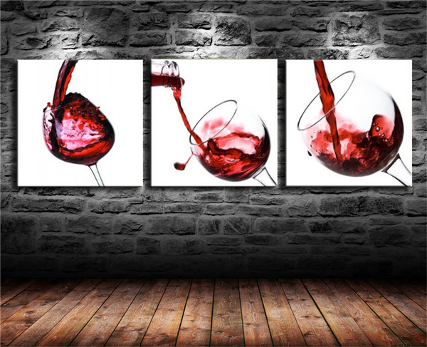 Red Wine Cup Bottle,3 Pieces Canvas Prints Wall Art Oil Painting Home Decor (Unframed/Framed) 12X24x3.