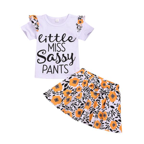 Kid Girls Cute 2pcs set sunflower printing casual Dresses baby Girl Dress t shirt+skirt Party Clothing