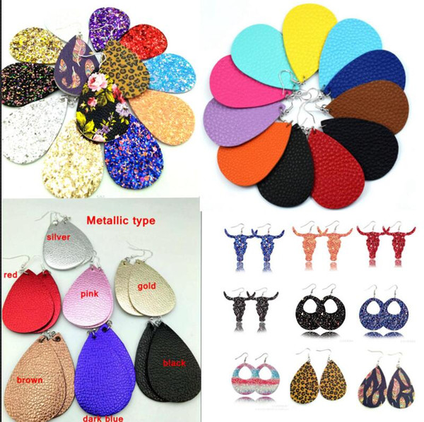 Hot New Christmas Gift Kendra Style Pu Leather Glitter Sparkly Oval Earrings Pendientes colgantes de moda para mujeres