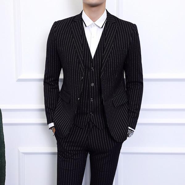 Gray Blue Black Men Striped Blazer jacket with Pants & Vest Waistcoat Asian Size S - 6XL Men Dress 3 Piece Set