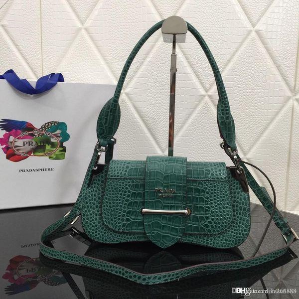 Calfskin crocodilo moda high-end senhoras ombro saco tendência tipo de saco marrom vermelho preto verde número do saco de designer: 1BD168.
