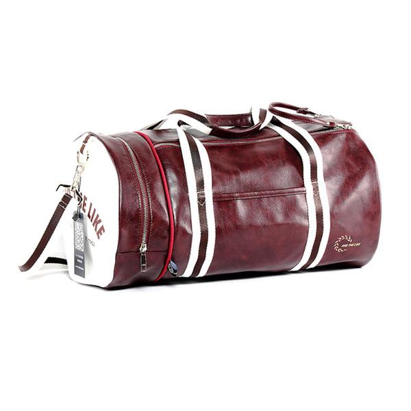Wobag Men PU Material Outdoor Travel Fitness Sports Bag Waterproof Cylinder Bag Multi-pocket Zipper Messenger