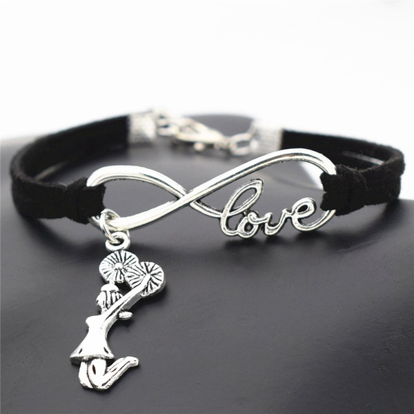 10 Colors Punk Style Fashion Infinity Love Cheerleader Cheer Team Girl Bracelet Bangles Black Leather Suede Wrap Wristband Cuff Jewelry Gift