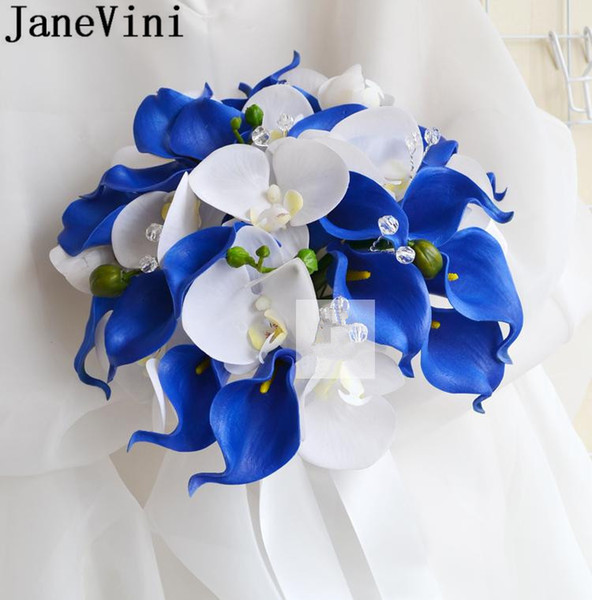 JaneVini Royal Blue Flowers Calla Lily Wedding Bouquet Brooches With Crystals Bride Artificial White Orchid Bridal Bouquet Boutonniere