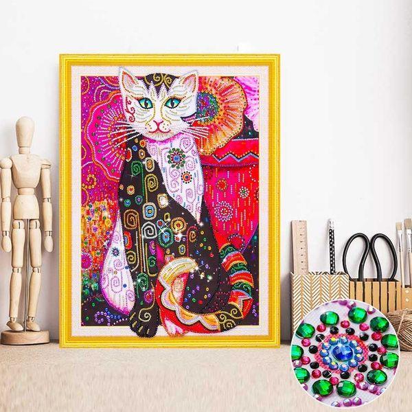 wholesale Diamond Embroidery Cat Partial Special Shape Diamond Painting Animal Mosaic Kit 5D DIY Picture Of Rhinestone Handmade