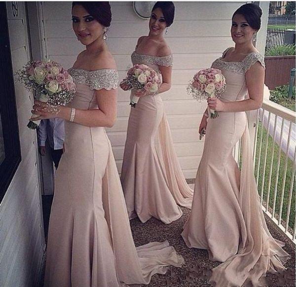 2018 Bling Mermaid Bridesmaid Dresses Major Beading Crystal Off Shoulde Cap Sleeves Long Chiffon Plus Size Formal Wedding Guest Gowns Custom
