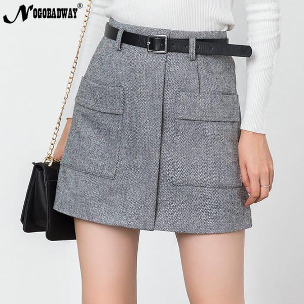 538fb297119 High Waist A-Line Mini Skirt Women Autumn Winter 2018 New striped Pockets  Short Tweed