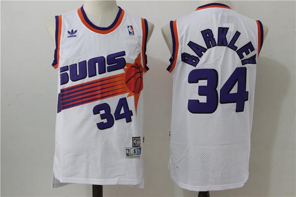 san francisco e47cc 36ff3 Retro Mens 13 Steve Nash Jersey 34 Charles Barkley Jersey Purple White  Black Hardwood Classics Suns Basketball Jerseys Stitched Embroidery Graphic  ...