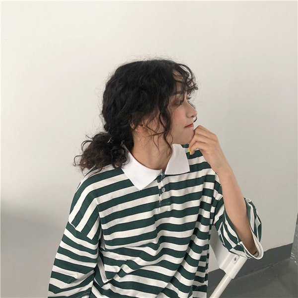 Ulzzang summer short-sleeved Turn-down Collar women's large size stripes loose new Harajuku Half Vintage Cotton T-shirt tops T5190603