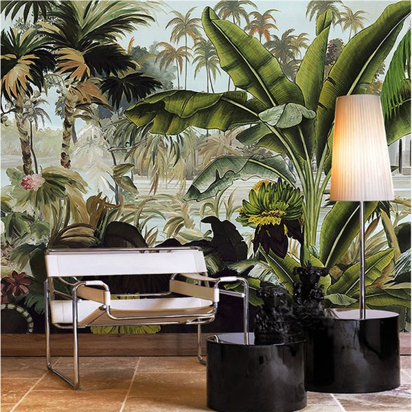 Custom 3d wallpaper green coconut tree tropical rain forest plant three-dimensional oil painting sofa background wall
