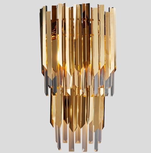 Dos capas LED de cristal de la lámpara de pared de lujo chapado en oro de acero inoxidable Aplique de pared Iluminación AC90-260V Inicio Lámpara de cristal LLFA