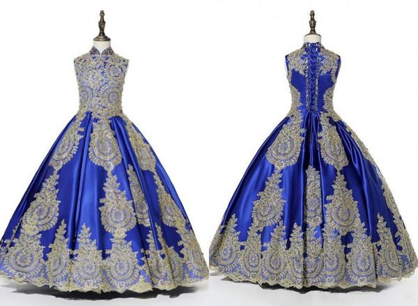 2020 Real Photo Royal Blue oro impreziosiscono ragazze Pageant abiti a collo alto con abito di sfera Sequin in rilievo bambini promenade del partito di sera del vestito delle ragazze di fiore