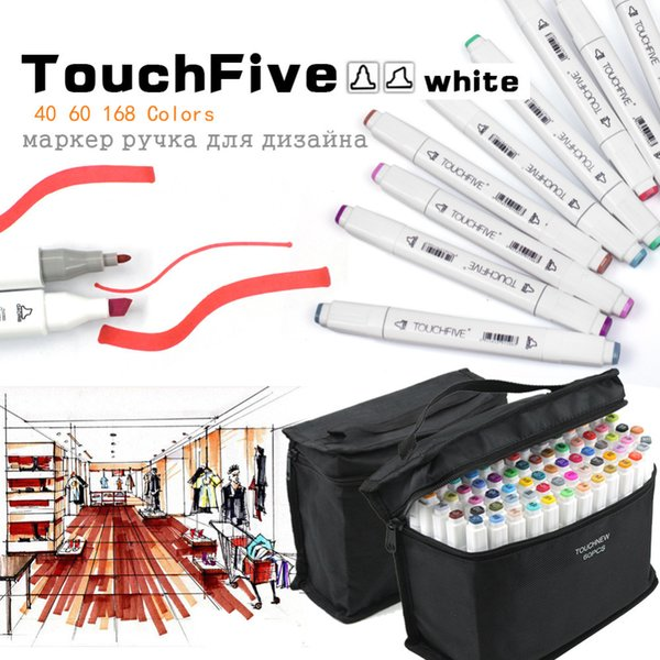best selling Marker Pen TouchFive 48 60 80 168 Colors Dual Tip Art Sketch for Drawing Sketching Adult and Kids Alcohol Marker Pen C18112001