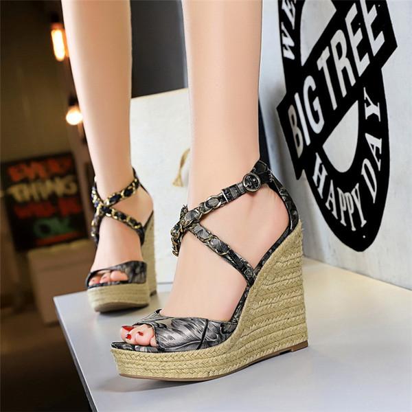 Sıcak Satış-sandalet platformu sandalet kadınlar için ayakkabı takozlar süper yüksek topuklu bayan ayakkabı yaz moda ayakkabı kadın sandalias buty damskie