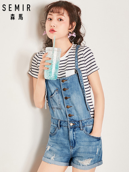 SEMIR Women Denim Jumpsuit 2019 Ladies Loose Jeans Rompers Female Casual Plus Size Hole Denim Overall Playsuit With Pocket Y19042901