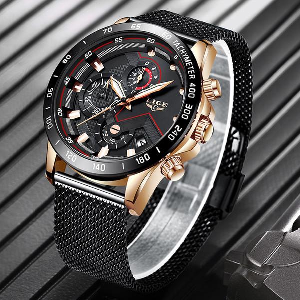 Relogio Masculino 2019 LIGE Mens Relógios Top Marca de luxo relógios de quartzo Homens magros ocasionais malha de aço Data impermeável Sport Watch